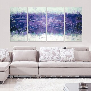 Hand-painted Cloudy Purple Abstract 4-panel Wall Art 1214
