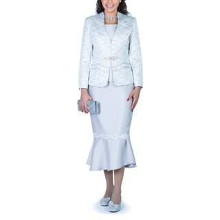 Ella Belle Women's 3-Piece Contrast Two-tone Fabric Skirt Suit