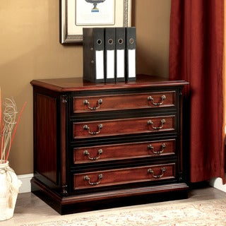 Furniture of America Tayler Traditional Cherry/Black 2-drawer File Cabinet