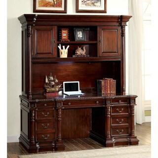 Furniture of America Marsa Traditional Cherry 2-piece Credenza Desk and Hutch Set