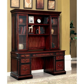 Furniture of America Tayler Traditional Cherry/Black 2-piece Credenza Desk and Hutch Set