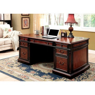 Furniture of America Tayler Traditional Cherry/Black Office Desk