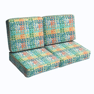 Blue Green Squares Diamonds Indoor/ Outdoor Corded Loveseat Cushion Set