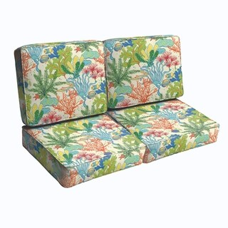 Blue Green Seascape Diamonds Indoor/ Outdoor Corded Loveseat Cushion Set