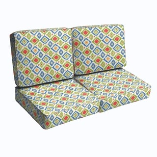 Green/ Red Diamonds Indoor/ Outdoor Corded Loveseat Cushion Set