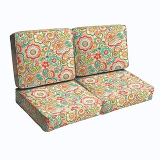 Red Rio Floral Indoor/ Outdoor Corded Loveseat Cushion Set