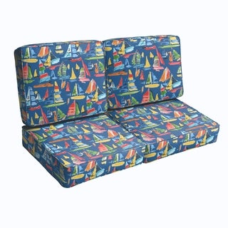 Blue Sailboats Indoor/ Outdoor Corded Loveseat Cushion Set