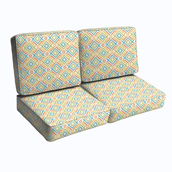 Blue Green Geometric Indoor Outdoor Corded Loveseat Cushion Set Free Shipping Today