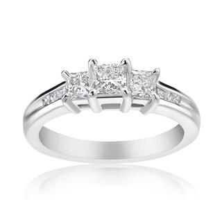 Andrew Charles 14k White Gold 1ct TDW 3-stone Diamond Princess Ring