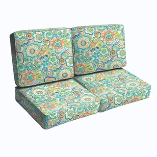 Blue Rio Floral Indoor/ Outdoor Corded Loveseat Cushion Set