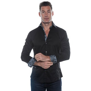 Isaac B. Men's Long Sleeve Black Button Down Shirt