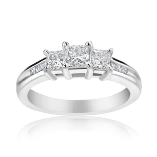 Andrew Charles 14k White Gold 1/2ct TDW 3-stone Diamond Princess Ring (H-I, SI2-I1)