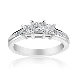 Andrew Charles 14k White Gold 1/2ct TDW 3-stone Diamond Princess Ring