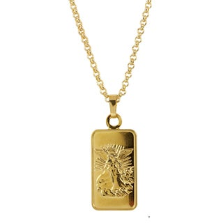 24k Gold Plated Angel Ingot Pendant