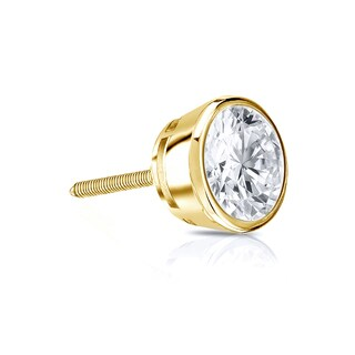 Auriya 14k Gold 1/3ct TDW Round-Cut Diamond Bezel Screw-Back Single Stud Earring (I-J, I1-I2)