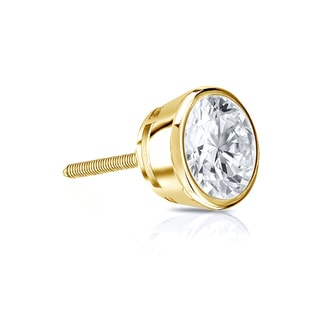 Auriya 14k Gold 1/3ct TDW Round-Cut Diamond Bezel Screw-Back Single Stud Earring (J-K, I2-I3)