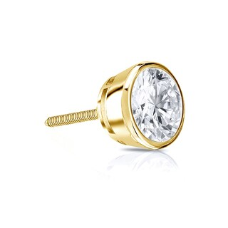 Auriya 14k Gold 1/3ct TDW Round Bezel Set SINGLE STUD (1) Diamond Earring
