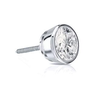 Auriya 14k Gold 1/2ct TDW Round-Cut Diamond Bezel Screw-Back Single Stud Earring (H-I, SI1-SI2)