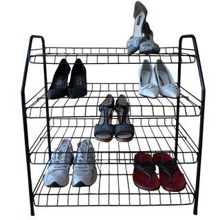 4-Tier Metal Wire Framed Shoe Shelf Closet Organizer