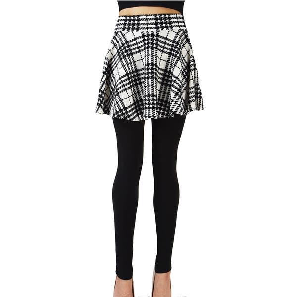 3d274457eca7f2 Shop Le Nom Checked Pleated Skirt Leggings (One Size Fits Most ...