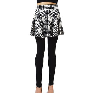 Le Nom Checked Pleated Skirt Leggings (One Size Fits Most)