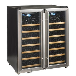Silent 48 Bottle Dual Zone Wine Cooler SS/Wood Shelves