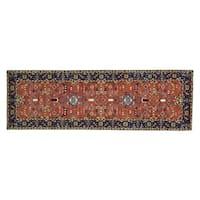 Runner Pure Wool Antiqued Heriz Hand-knotted Oriental Runner Rug (3' x 9'5)