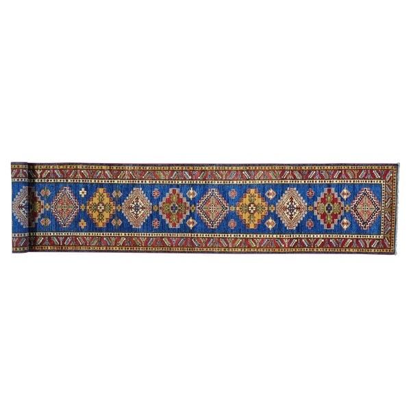 Super Kazak Xl Runner Hand-knotted Pure Wool Oriental Runner Rug - 2'7 x 17'