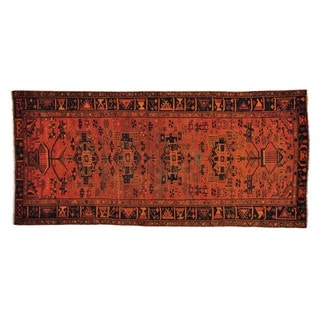 Pure Wool Hand-knotted Wide Runner Overdyed Hamadan Runner Rug (4'4 x 9'5)