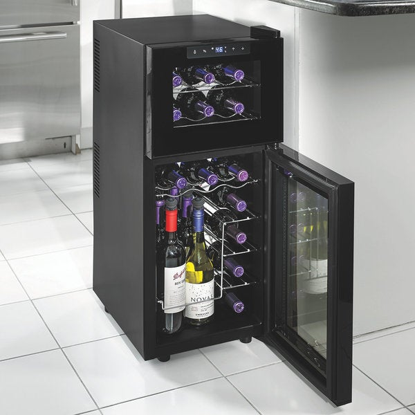 Silent 21 bottle dual zone touchscreen wine cooler free for Modern homes 8 bottle wine cooler