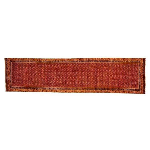 Overdyed Persian Sarouk Mir Runner Handmade Oriental Runner Rug (2'9 x 11'5)