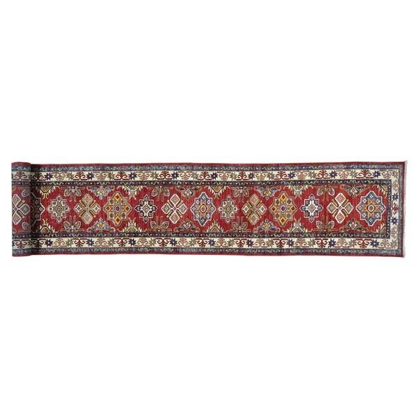 Pure Wool Hand-knotted Tribal Super Kazak Xl Runner  Rug (2'5 x 18'2)