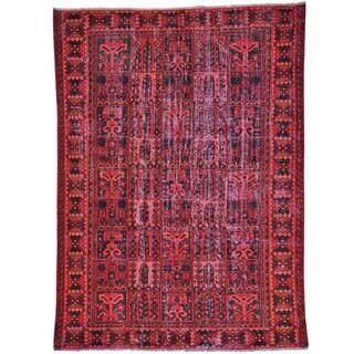 Red Semi Antique Overdyed Persian Bakhtiari Handmade Rug (6'5 x 9')