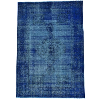 Handmade Overdyed Worn Down Persian Tabriz Denim Blue Rug (6'4 x 9')
