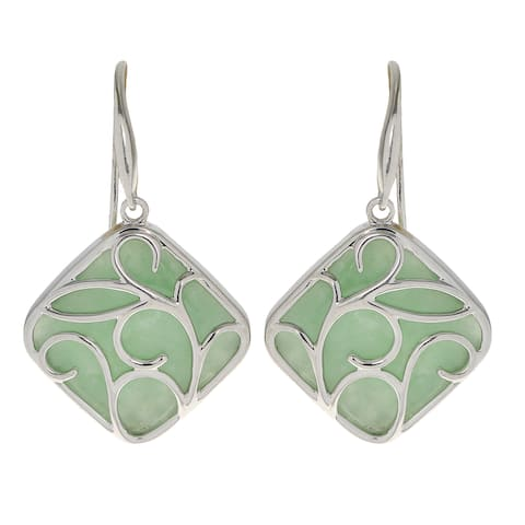 Gems For You Sterling Silver Jade Dangle Earrings (18mm)