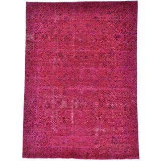Handmade Persian Esfahan Pink Semi Antique Overdyed Rug (8'7 x 12')