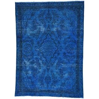 Overdyed Persian Hamadan Worn Down Handmade Oriental Rug (7'9 x 10'9)