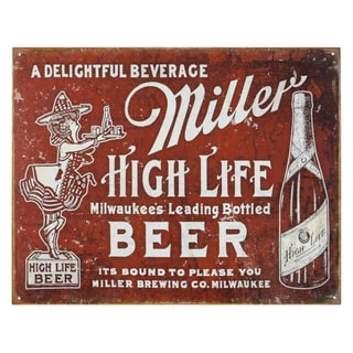 Vintage Metal Art 'Miller Bound to Please' Decorative Tin Sign