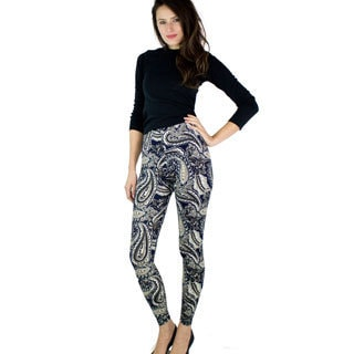Le Nom Soft Feel Paisley Damask Pattern Leggings