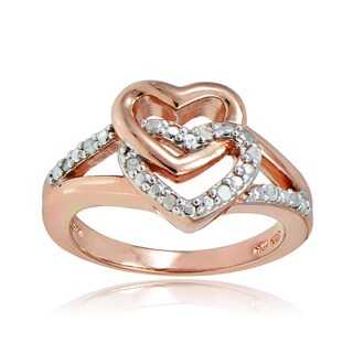 DB Designs 18k Rose Gold over Silver 1/10ct TDW Diamond Interlocking Heart Ring (4 options available)