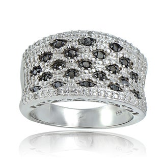 DB Designs Sterling Silver 1/4ct TDW Black/Blue and White Diamond Wavy Ring