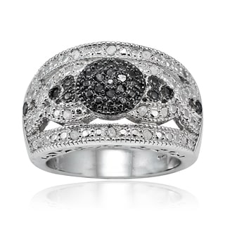 DB Designs Sterling Silver 1/4ct TDW Wide Dome Diamond Fashion Ring