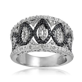 DB Designs Sterling Silver 1/4ct TDW Blue/Black and White Diamond Ring