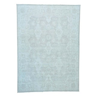 Silver Wash Oushak Hand-knotted Pure Wool Oriental Rug (9'10 x 13'7)
