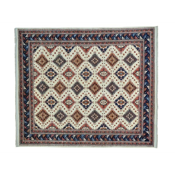 Pure Wool Repetitive Design Afghan Ersari Hand-knotted Rug (8'3 x 9'6)
