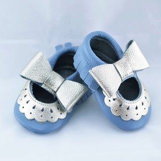 Genuine Leather Robin's Egg Blue Mary Jane Baby/ Toddler Moccasin 18-24 Month Shoes