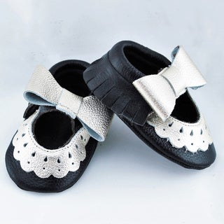 Genuine Leather Black Mary Jane Baby/ Toddler Moccasin 6-12 Month Shoes