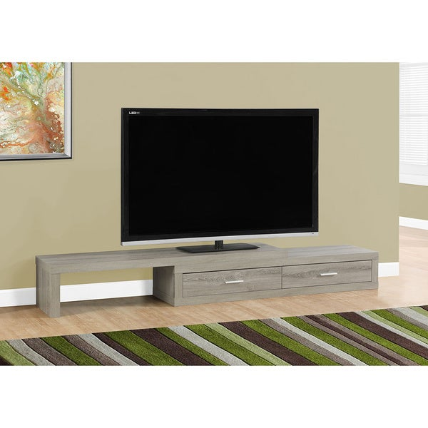 Expandable Dark 60 Inch To 90 Inch Taupe TV Stand