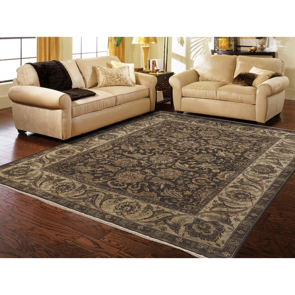 Hand-knotted Caleb Chocolate/ Cream Handspun Blended New Zealand Wool Rug (10 x 14') - 10' x 14'