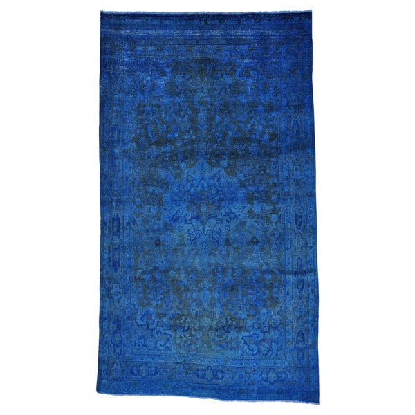 Gallery Size Semi Antique Persian Mashad Overdyed Runner Rug - 2'4 x 20'1